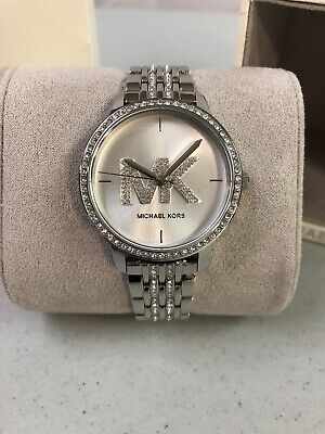 Michael Kors Melissa Glitz Crystals 35mm Silver Steel Women's Watch MK4370 $295