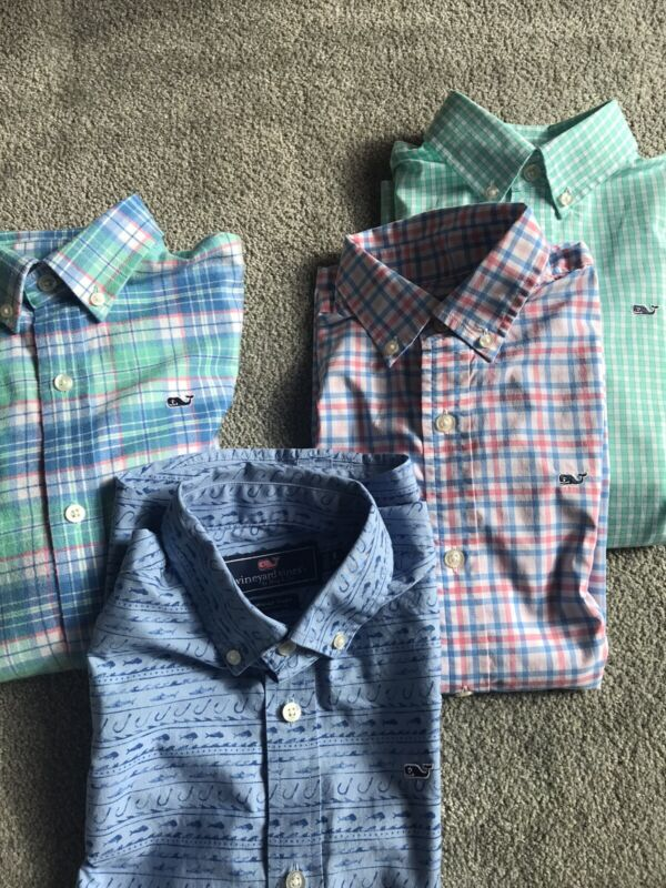 Lot Of 4 Vineyard Vines Whale Shirts Boy's Size Small (8-10)