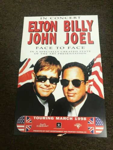 "Billy Joel Elton John Face to Face 1998 Promo Cardstock Concert Poster 12"" x 18"""