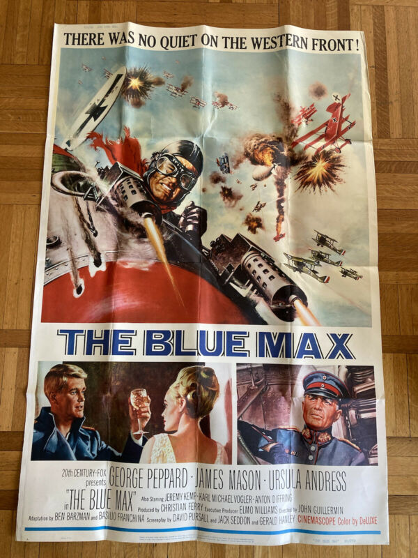 GEORGE PEPPARD, URSULA ANDRESS, JAMES MASON THE BLUE MAX 1966 FOX 40X60
