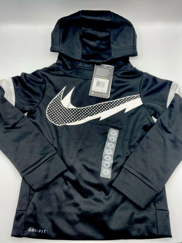 Nike Therma Dri Fit Fleece Lined Hoodie Size 4 Boys - Black and White - New!