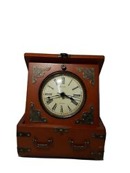 Edinbridge Bulova (B7450) Quartz Desk Clock Shelf Mantle Table Clock Walnut Case