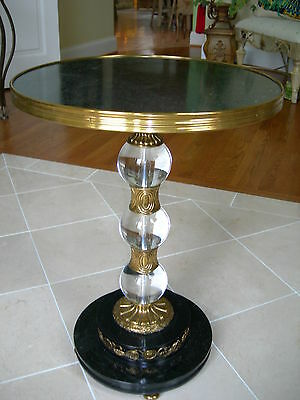 Maitland Smith Amber Finished Brass and Glass Sphere Occasional End Table