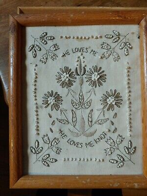 """Collectible Needlepoint Sampler Completed He Loves Me He Loves Me Not. 10x12"""".NR"""