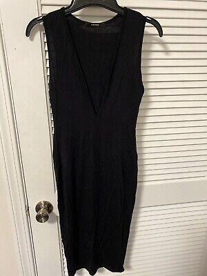 Forever 21 Women's Black Deep V-Neck Light Dress Size Small Deep V-neck Dress