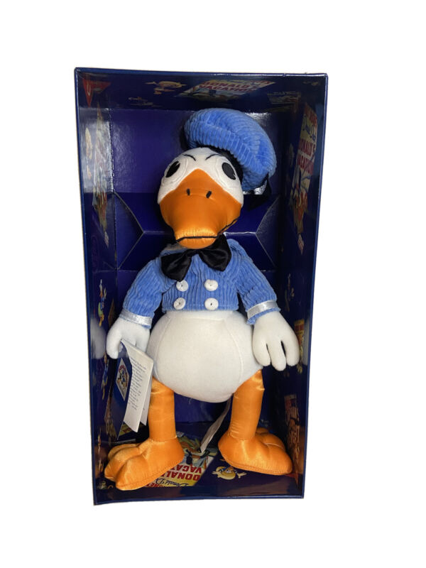 """THE DISNEY STORE DONALD DUCK 65 FEISTY YEARS RETRO 13.5"""" PLUSH DOLL BOXED 1999"""