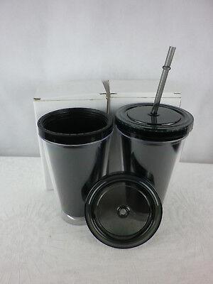 el + Trinkhalm Straw Cup 0,4 Liter Kunststoff 2er Pack (Kunststoff-becher Mit Deckel)