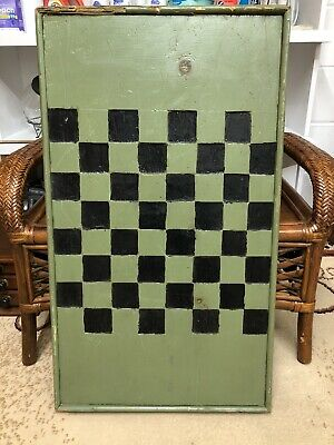Antique Two Sided Handcarved Wooden Inlaid Gameboard