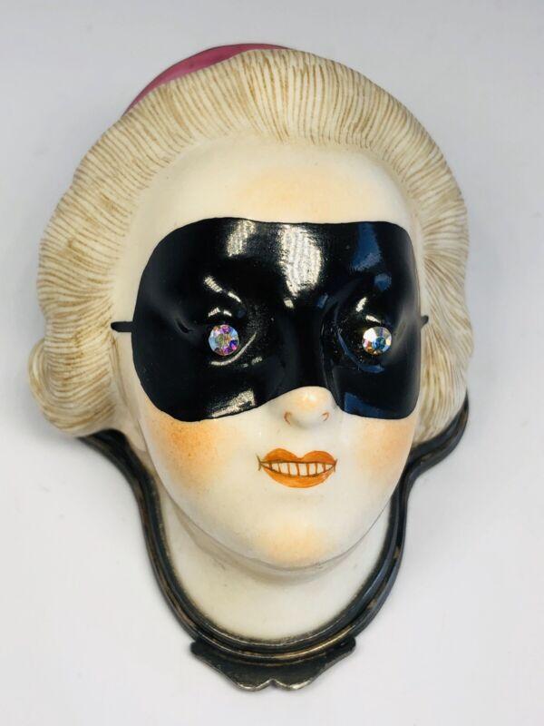 Antique 19th Century French Porcelain Masked Lady Silver Vinaigrette Patch Box