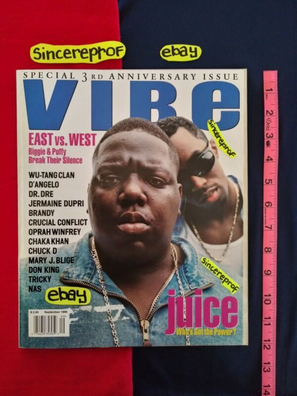 VIBE MAGAZINE EAST VS WEST FUED PUFFY BIGGIE DEATH ROW RECORDS SUGE KNIGHT TUPAC