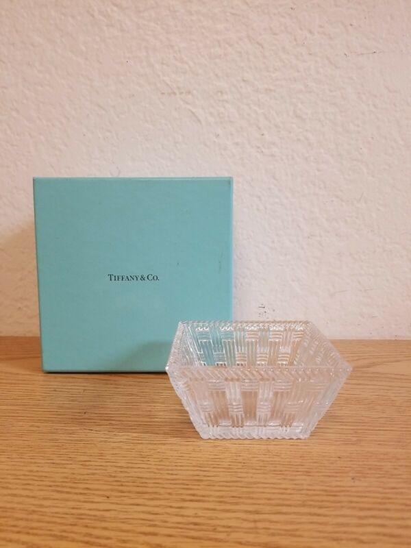 "Tiffany & Co. Company Basket Woven Pattern 4"" Crystal Candy Dish Original Box"