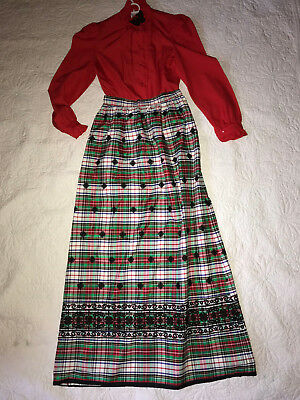 Christmas Caroling Costumes (VICTORIAN Christmas Caroling theater top plaid skirt costume size 6)