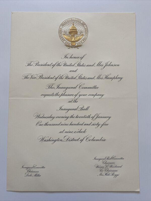 Official 1965 President Lyndon Johnson Inauguration Inaugural Ball Invitation