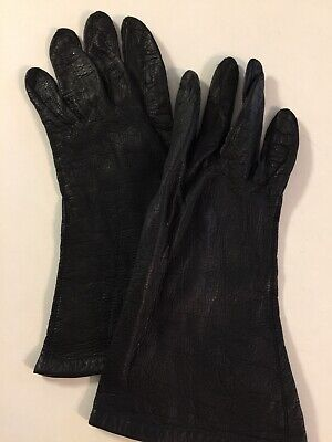 Lightweight  Black Leather Women's Gloves Size 7 Silk Knit -