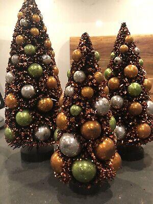 Bethany Lowe Haunted Halloween Glitter Bottle Brush Trees (Set of 3)