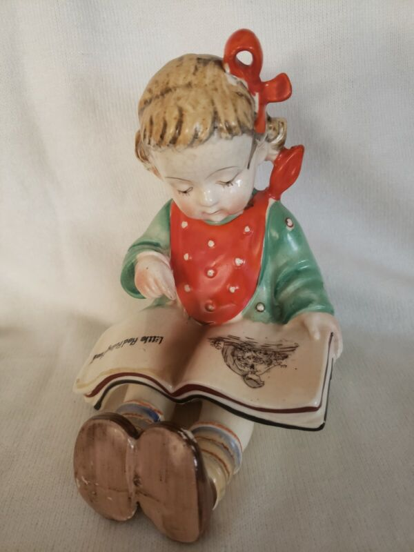 VTG Young Girl ONLY Bookend Figurine Reading Book Hand-painted 1950s Japan 6x5