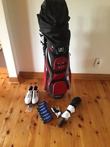 Golf bag, clubs, shoes, T's, golf balls, umbrella, glove