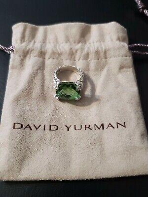 David Yurman Sterling Silver 925 Prasiolite Diamonds Cushion OnPoint Ring 15 5.5