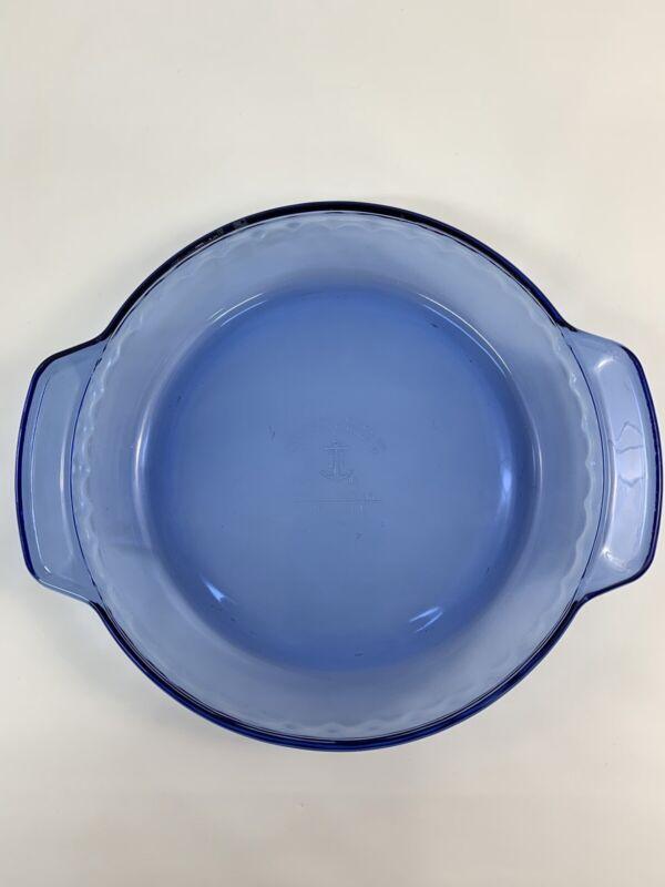 """Anchor Hocking 9"""" Cobalt Blue Glass Deep Dish Fluted Pie Plate Baking 1 Qt 23 CM"""