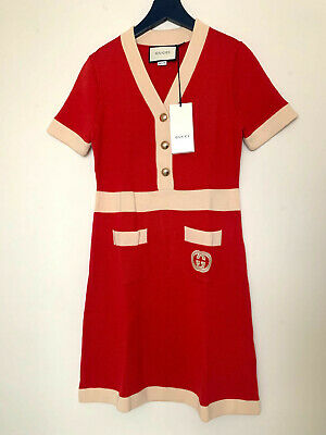 GUCCI Red Wool dress with Interlocking size M