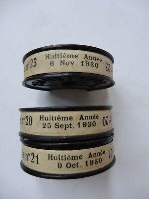 PATHE GAZETTE 1930 N° 20 21 23 3 BOBINES 9.5MM PATHE BABY