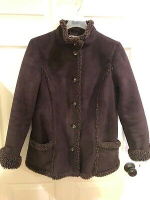 LL Bean Faux Suede Jacket Sherpa Shearling Lined Jacket Women's Sz M Petite, used for sale  Shipping to South Africa