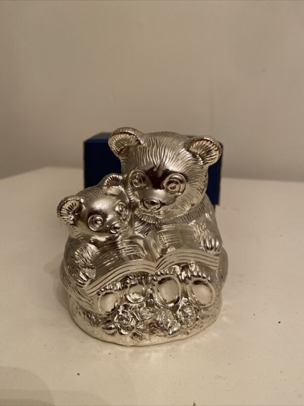 The Two Bears Metal Silver Tone Coin Bank, Tarnish Resistant, Japan
