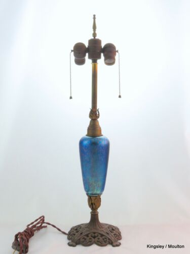 Loetz Cobalt Papillon Double Light Lamp ca 1915