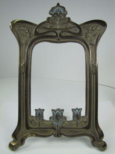 Antique Art Nouveau Frame Tulips Flowers Cast Iron Brass Ornate Picture Mirror