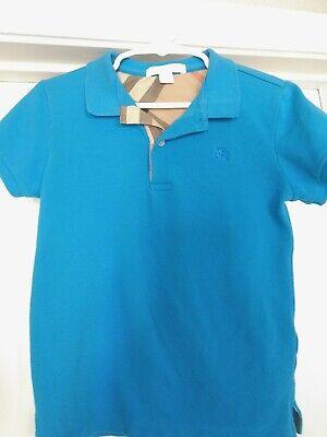 Burberry Children Boys Blue Polo Shirt Size 6 Novacheck Trim