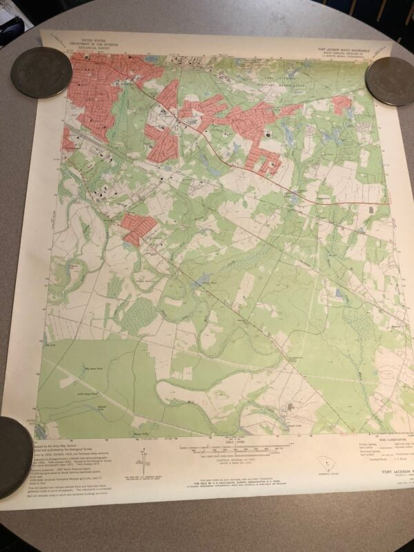 1972 Map DEPARTMENT OF THE INTERIOR Fort Jackson South Carolina