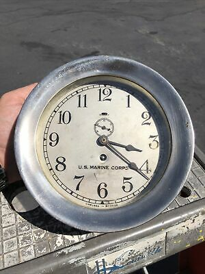Chelsea Ships Clock marked U.S. Marine Corps Plated Over Brass Running 1935-36