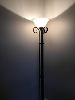 Black iron floor lamp