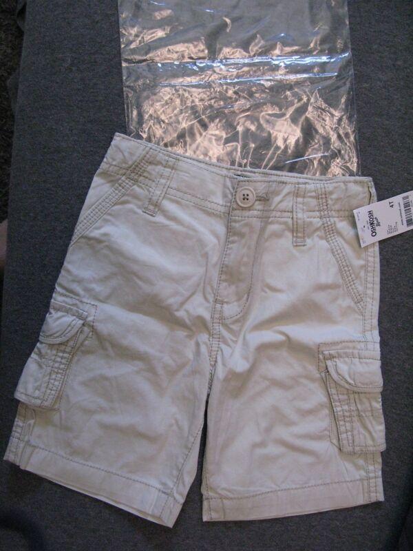 OshKosh B'gosh Light Khaki Cargo Shorts 4T NEW in Pkg