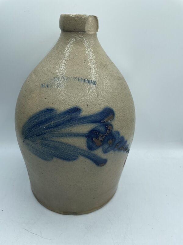 Antique WILCOX BLUE DECORATED STONEWARE CROCK/OVOID