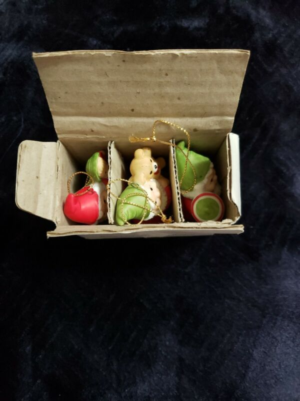 Vintage Set Of 3 Homco #5415 Christmas Elf Ornaments Old New Stock
