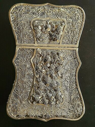 👍1900s CHINA CHINESE STERLING SILVER FILIGREE CARD BOX EXCELLENT CONDITION 纯银丝盒