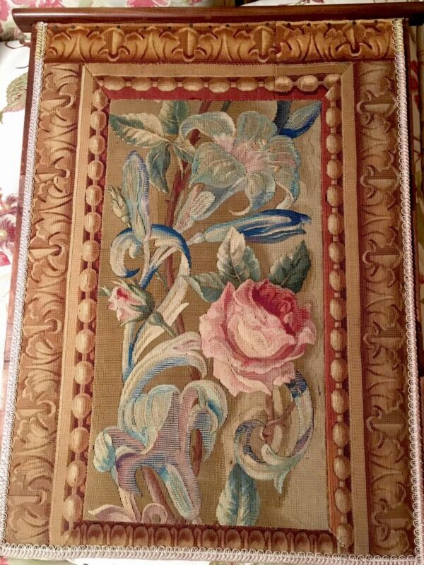 Antique French Aubusson Tapestry Wool Silk Gorgeous Large