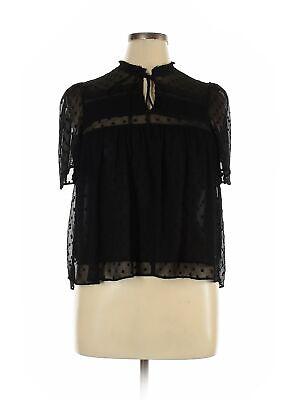 Zara TRF Women Black Short Sleeve Blouse L