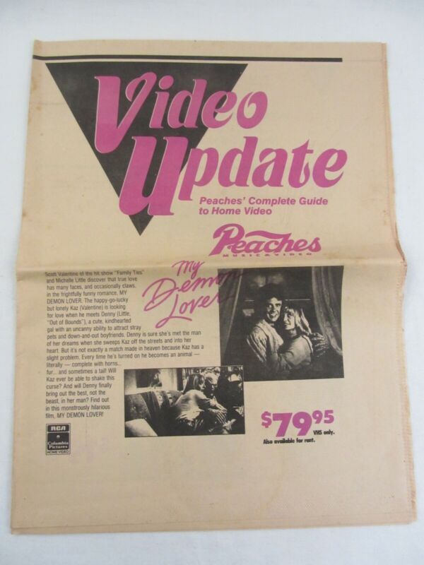 PEACHES Music & Video 1987 Video Update Newpaper print, 16 pages approx 11.5x15""