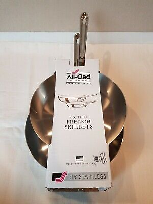 NIB Authentic 2 pc ALL CLAD D5 Stainless Steel French Skillet Set Pair 11
