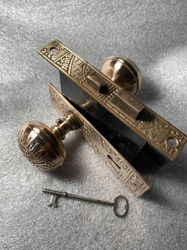 Antique Victorian  Bronze Corbin Ceylon Eastlake Lockset & Skeleton Key