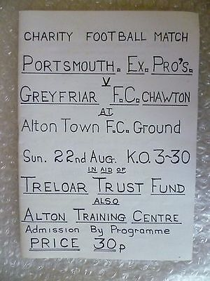 1963 PORTSMOUTH EX PRO'S v GREYFRIAR, 22nd Aug (Charity Match)