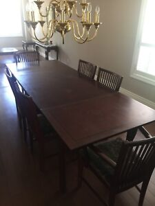Free Solid wood table with 6 Chairs & breakfast table set