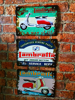 Set of 3 LAMBRETTA Scooter Prints - Vintage reproductions - wall art posters