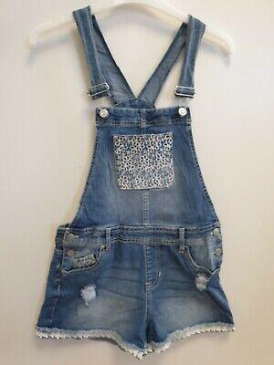 GIRLS JORDACHE BLUE DENIM STRETCH FLORAL DUNGAREE SHORTS XL AGE 14-16 W28-30