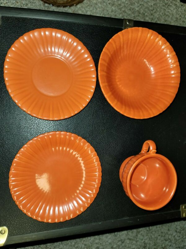 Stangl Colonial pattern #1388 orange rust / tangerine four piece set