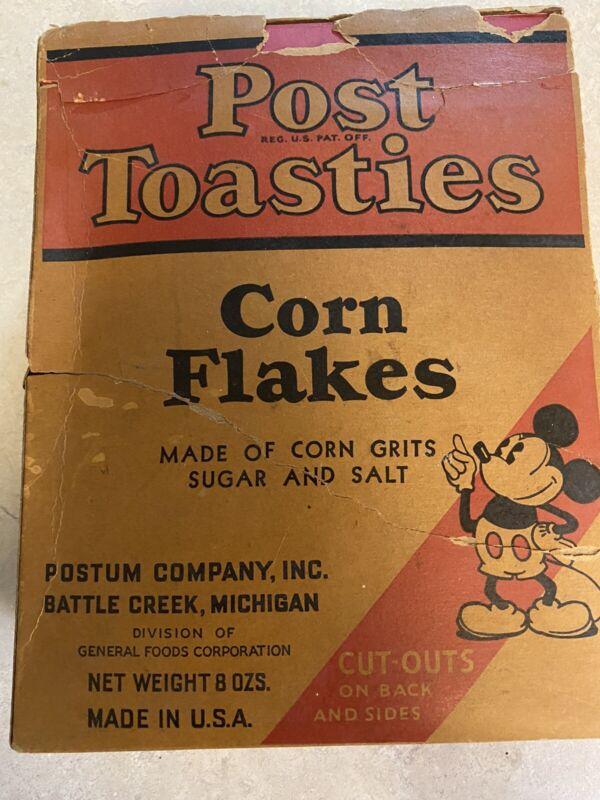 Vintage Walt Disney Post Toasties Mickey Mouse Cereal Box 1934