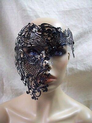 Black Metal Filigree Half Skull Phantom Eye Mask Green Stones Masquerade Opera