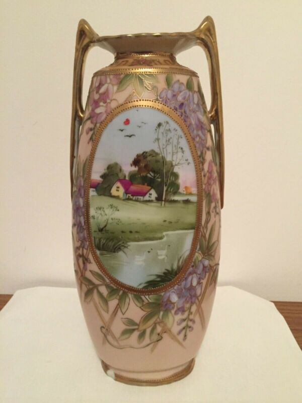Hand Painted Nippon Tall Footed Vase w/ 2 Handles & Landscape Pictures